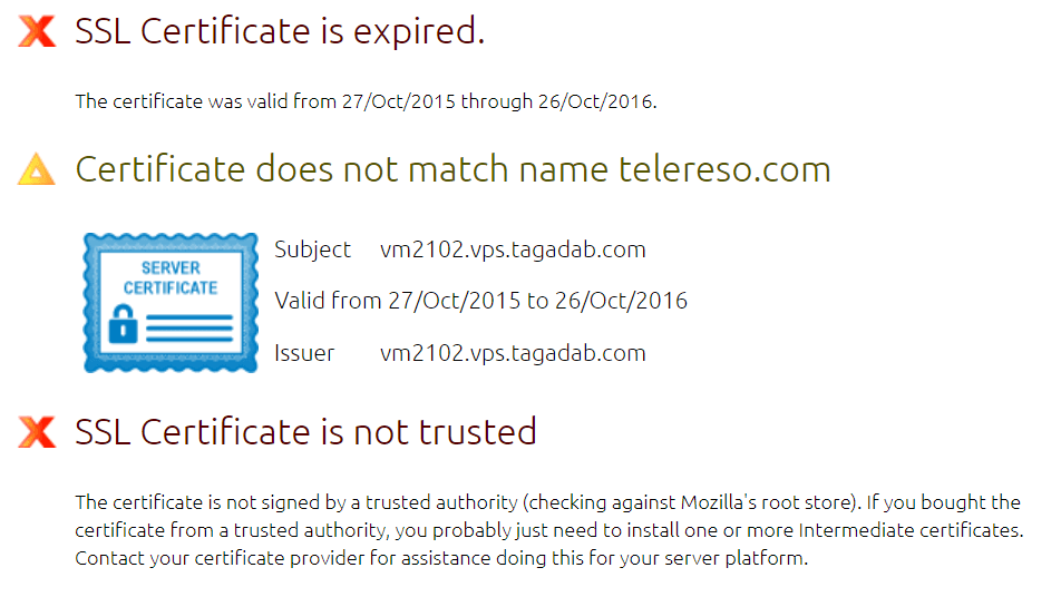 SSL Certificate is expired, does not match name telereso.com and is not trusted.