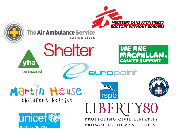 List of charities being supported